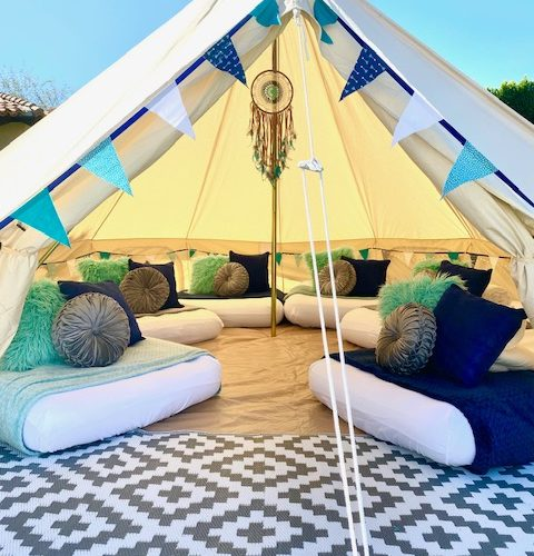 Glamping Bell Tent for Overnight or Event Rentals Boho Blues – Glamping (1)